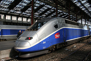 TGV Duplex silver and blue in the Gare de Lyon, Paris
