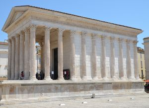 Maison Carrée temple in Nemausus Corinthian columns and portico