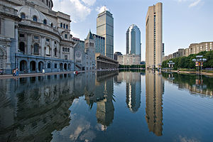 Reflecting pool with highrises in the background