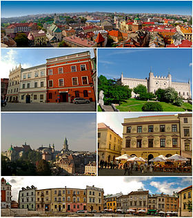Top: panorama of Old Town Lublin, including Crown Tribural Second left: façade buildings in Staego Street. Second right: Lublin Castle. Third left: view of Tynitarska Tower, Cracow Gate and many of historical built from Miasto Square. Third right: Tentement house in Klonawica Street, Bottom: view of Plac po Farze area