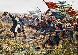 Colored painting showing French army at Varoux