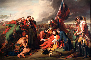 "Benjamin West's ""The Death of General Wolfe"" dying in front of British flag while attended by officers and native allies"