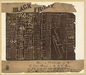 "A blackboard with columns of numbers. Across the top is a banner that says ""Black Friday"" and below is a hand written note"