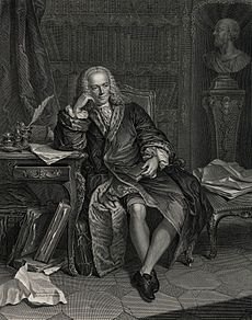 A drawing of a man sitting down