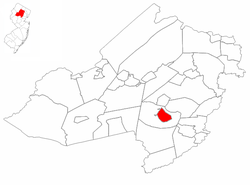 Location of Morristown in Morris County. Inset: Location of Morris County in the State of New Jersey.