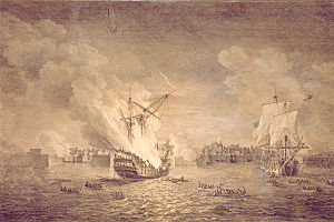 British burninng warship Prudent and capturing Bienfaisant. Siege of Louisbourg 1758. Maritime Museum of the Atlantic, M55.7.1.jpg