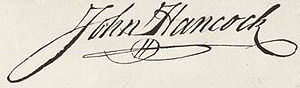 The handwriting of John Hancock's stylish signature, which slants slightly to the right, is firm and legible. The final letter loops back to underline his name in a flourish.