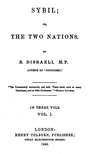"The cover of a book, entitled ""Sybil; or, the Two Nations"""