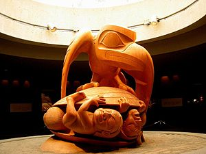Bill Reid's 1980 sculpture Raven and The First Men. Raven crushing men under turtle shell