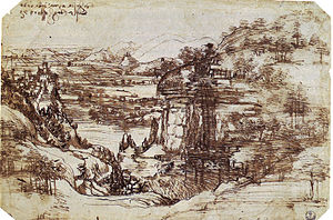 Pen drawing of a landscape with mountains, a river in a deep valley, and a small castle