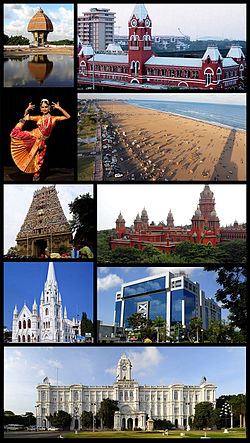 Clockwise from top right: Chennai Central, Marina Beach, Madras High Court, TIDEL Park, Ripon Building, San Thome Basilica, Kapaleeshwarar Temple, Classical dance Bharata Natyam and Valluvar Kottam