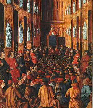 Painting of a large group of men in a room with many statues
