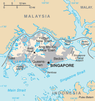 Map showing Singapore island and the territories belonging to Singapore and its neighbours