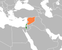 Map indicating locations of Israel and Syria