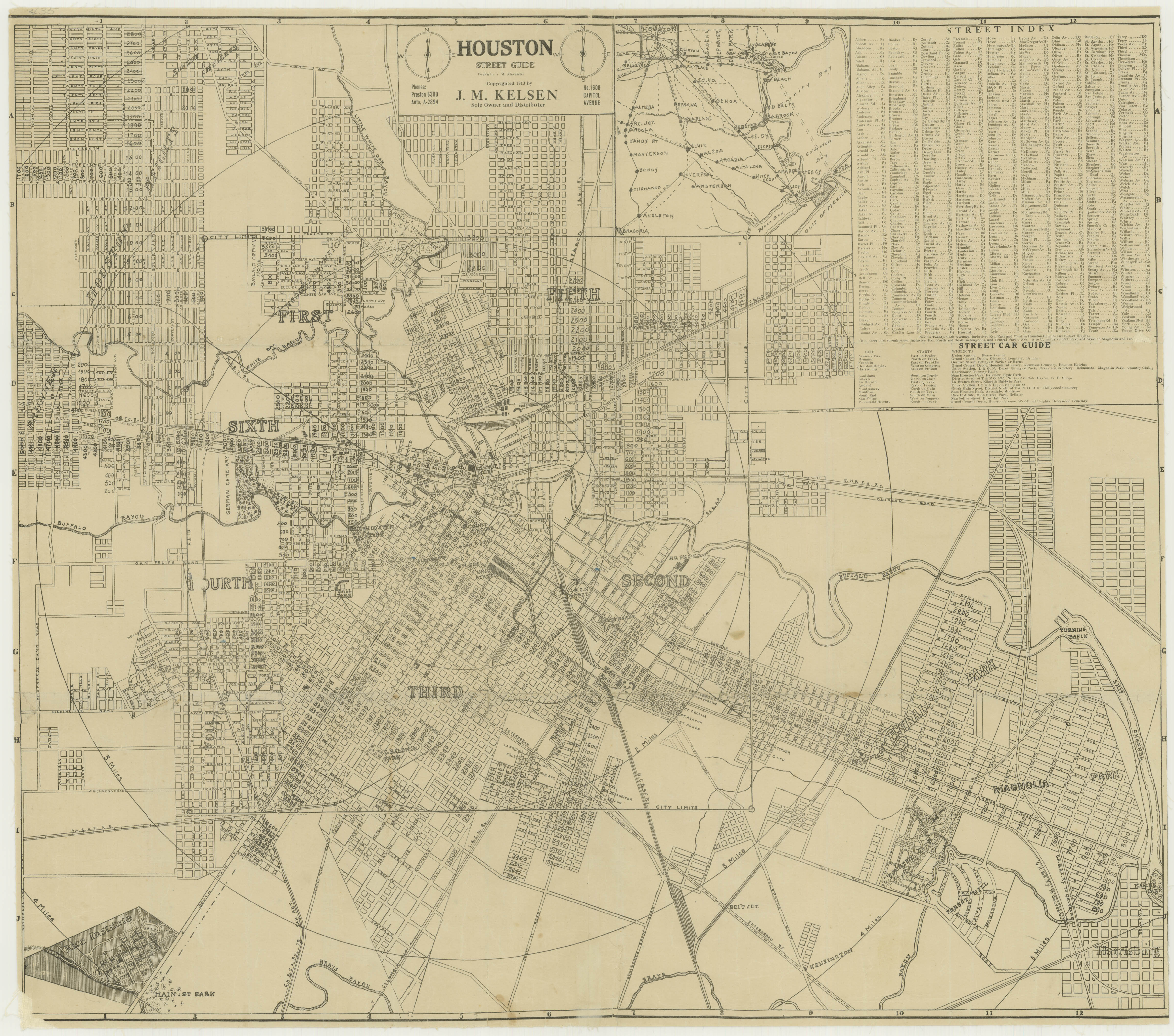 Section of a map of Houston from 1913, showing the location of the park. (Select the image to view the full map.)
