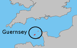 Location of  Guernsey  (Bailiwick of Guernsey within circle)