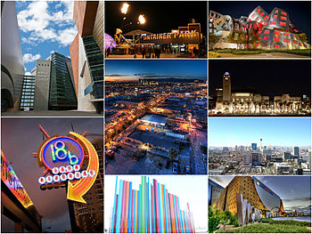 In order from top left, clockwise: 1.World Market Center Las Vegas; 2.Fremont East; 3.Lou Ruvo Center for Brain Health; 4.Smith Center for the Performing Arts; 5.Downtown Las Vegas with the Las Vegas Valley in the background; 6. Grand Central Parkway Interchange; 7.Symphony Park; 8.Downtown Arts District; 9.Las Vegas industrial district looking North away from the Las Vegas Strip during First Friday
