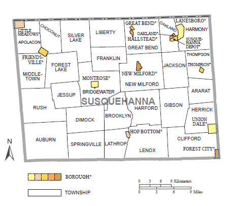 Political map of Susquehanna County, Pennsylvania, with townships and boroughs labeled. Townships are colored white and boroughs are colored various shades of orange.