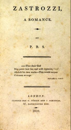 "Title page to the first edition of ""Zastrozzi"" by Percy Bysshe Shelley"