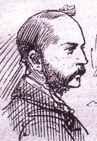 Sketch of a whiskered man in profile
