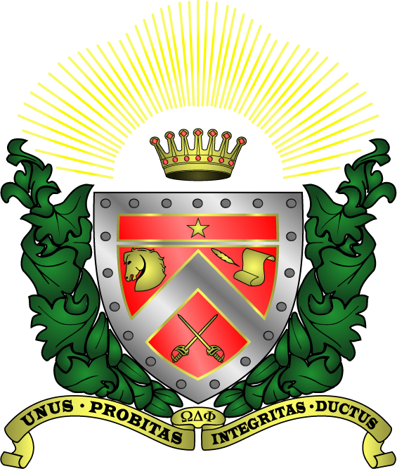 The official crest of Omega Delta Phi.