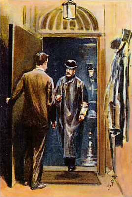 Man answering the door to a bowler-hatted man in a raincoat