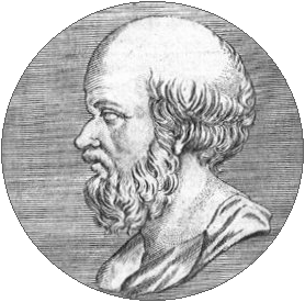 An etching of a man's head and neck in profile, looking to the right. The man has a beard and is balding.