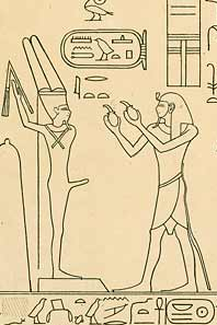 Mentuhotep IV (right) gives offerings to Min. From Wadi Hammamat