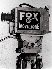Fox movietone motion picture camera on a tripod from the 1930s