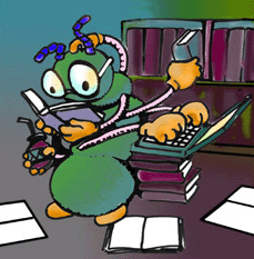 A cartoon centipede with 7 hands reads a book, lifts another, types on a laptop, and holds a bottle.