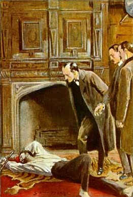 Colour illustration of Holmes bending over a dead man in front of a fireplace