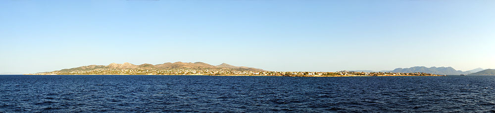 A panorama of the island of Aegina, from the Mediterranean sea