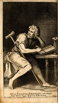 A line drawing of Epictetus writing at a table with a crutch draped across his lap and shoulder