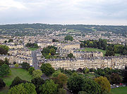 Aerial view over the northern side of Bath, England, from a hot air balloon.