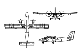 Orthographically projected diagram of the de Havilland Canada DHC-6 Twin Otter.