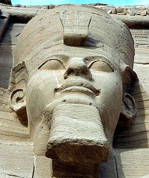 One of the four external seated statuesof Ramesses II at Abu Simbel.
