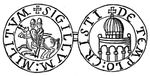 "A Seal of the Knights Templar, with their famous image of two knights on a single horse, a symbol of their early poverty. The text is in Greek and Latin characters, Sigillum Militum Xpisti: followed by a cross, which means ""the Seal of the Soldiers of Christ""."