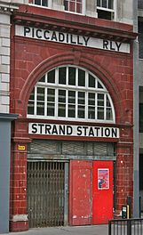 Main entrance on the Strand, London. The station is referred to by its previous name, Strand.
