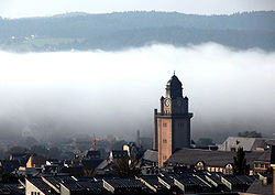 Plauen and the city hall tower in the morning fog