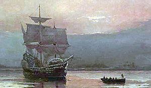 A painting depicting a ship partly encrusted in snow and ice at anchor in a calm harbor. A small boat full of men is moving away from the ship. The sky is cloudy.