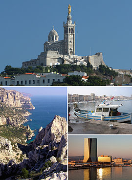 Clockwise from top: Notre-Dame de la Garde • Old Port • La Joliette with CMA CGM Tower • Calanque of Sugiton