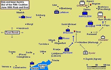 Battles of Raab and Graz Campaign Map, June 1809