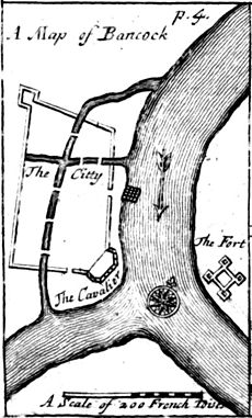 "An engraved map titled ""A Map of Bancock"", showing a walled settlement on the west of a river, and a fort on the east"