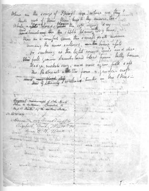 "A white sheet of paper that is completely filled with a poem in cursive hand writing. A few of the words are scratched out with other words written above as corrections. Words can be partly seen from the other side of the page but they are illegible. A note midway down the page describes that it is an ""Original manuscript of John Keats's Poem to Autumn."""