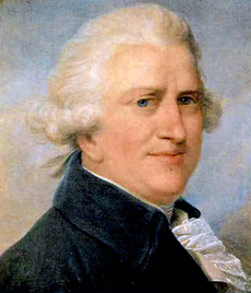 Head and shoulders portrait of a white-haired, portly, middle-aged man with a pinkish complexion, blue velvet coat, and a ruffle
