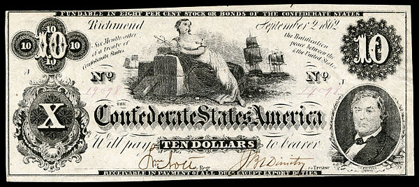 Ceres depicted on a 1861 $10 CSA banknote.