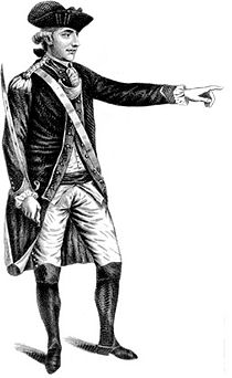 Full length print of a man in an 18th-century military uniform and tricorne hat. He holds a sword in his right hand while pointing with his left.