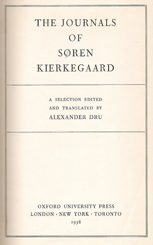 "Title page of a book, headed ""THE JOURNALS OF SØREN KIERKEGAARD"""