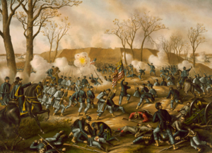 Union soldiers charging into battle, some injured or dying