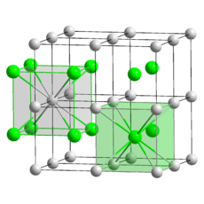 27 small grey spheres in 3 evenly spaced layers of nine. 8 spheres form a regular cube and 8 of those cubes form a larger cube. The grey spheres represent the caesium atoms. The center of each small cube is occupied by a small green sphere representing a chlorine atom. Thus, every chlorine is in the middle of a cube formed by caesium atoms and every caesium is in the middle of a cube formed by chlorine.